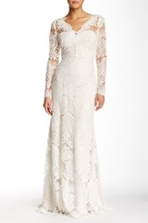 Marchesa Full Length Lace Gown White