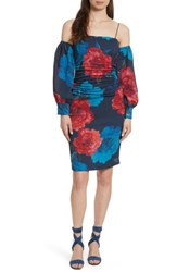 Tracy Reese Strapping Off The Shoulder Silk Dress Large Red Blossoms