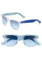 Women's Lilly Pulitzer 'Gabby' 49Mm Retro Sunglasses Crystal Blue Sea Soiree