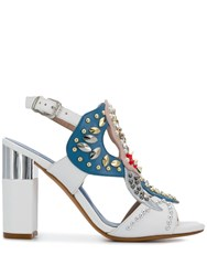Albano Embellished Open Toe Pumps White