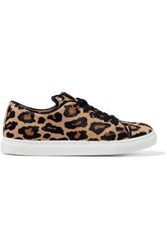 Charlotte Olympia Leather Trimmed Leopard Print Calf Hair Sneakers Animal Print