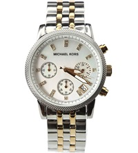 Michael Kors Mk5057 Ritz Stainless Steel And Gold Plated Watch Silver And Gold