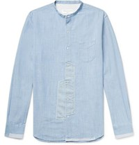 Officine Generale Slim Fit Grandad Collar Patchwork Cotton Chambray Shirt Sky Blue