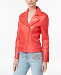 Inc International Concepts Faux Leather Moto Jacket Only At Macy's Hibiscus Bloom