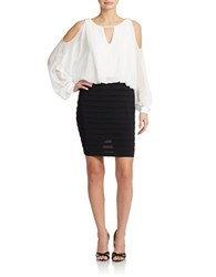 Xscape Evenings Colorblock Dolman Sleeve Blouson Dress Ivory Black