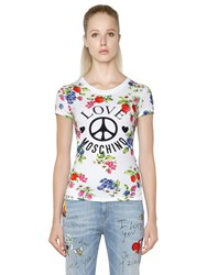 Love Moschino Floral Printed Cotton Jersey T Shirt