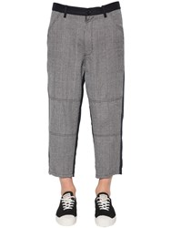 Comme Des Garcons Wool Houndstooth And Carded Wool Pants Navy