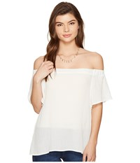 1.State Off Shoulder Flounce Sleeve Blouse Cloud Women's Blouse White