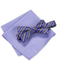 Alfani Men's Walsh Stripe Bow Tie And Pocket Square Set Only At Macy's Purple
