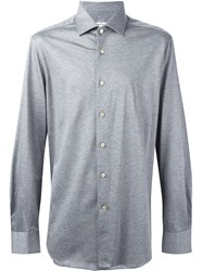 Kiton Melange Button Down Shirt Grey