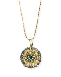 Sydney Evan Concentric Eye Diamond And Sapphire Necklace Yellow Gold