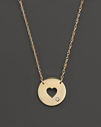 Jane Basch 14K Yellow Gold Cut Out Heart Disc Pendant Necklace 16