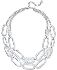 Alfani Silver Tone Hammered Link Two Row Necklace