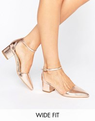 Truffle Collection Wide Fit Heel Shoe Rose Gold Pu Copper
