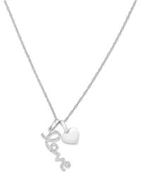 Macy's Diamond Accent Heart And Love Pendant Necklace In 14K White Gold No Color