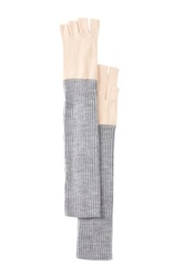Vince Camuto Two Tone Long Fingerless Gloves White