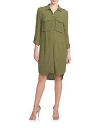 1.State Hi Lo Patch Pocket Shirtdress Green