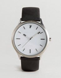 French Connection Watch With Black Leather Strap Black