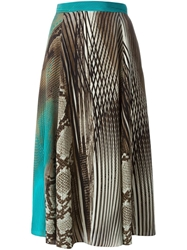 Salvatore Ferragamo Snakeskin And Striped Print Skirt Brown