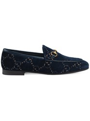 Gucci Jordaan Gg Velvet Loafer Blue