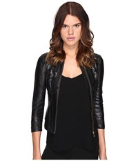 Versace Leather Blousons Nero Women's Clothing Black