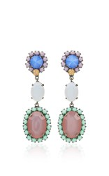 Sharra Pagano Blue And Purple Crystal Earrings