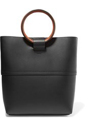 Theory Hoop Mini Leather Tote Black