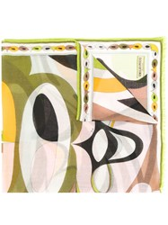 Emilio Pucci Abstract Print Scarf Women Cashmere One Size Green
