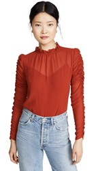 See By Chloe Ruffle Neck Blouse Earthy Red