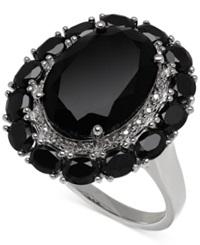 Macy's Onyx 20 4 5 Ct. T.W. And Diamond Accent Ring In Sterling Silver Black