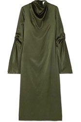 Dion Lee Cold Shoulder Draped Mulberry Silk Satin Midi Dress Green