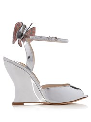 Sophia Webster Rizzo Embellished Bow Wedge Sandals Silver