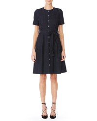 Carolina Herrera Short Sleeve Collarless Denim Shirtdress Indigo