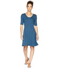 Toadandco Daisy Rib Cafe Sleeve Dress Blue Wing Teal Red