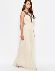 Little Mistress Chiffon Mesh Insert Maxi Dress Cream