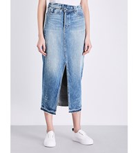 Helmut Lang Reconstructed Denim Midi Skirt Light Blue