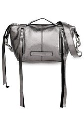 Mcq By Alexander Mcqueen Metallic Cracked Leather Shoulder Bag Silver