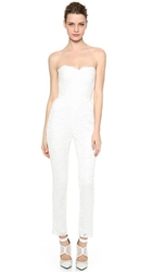 Monique Lhuillier Paige Lace Jumpsuit Silk White