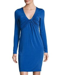 Catherine Malandrino Draped Front Long Sleeve Dress Cobalt