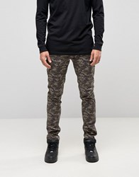 Asos Skinny Chino Trousers In Polka Dot Camo Khaki Green