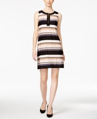 Msk Striped Zip Front Shift Dress Black Ivory