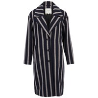 Selected Femme Women's Cocoana Striped Coat Stripe Black