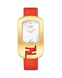 Fendi Medium Yellow Gold Tone And Mother Of Pearl Chameleon Watch 29Mm