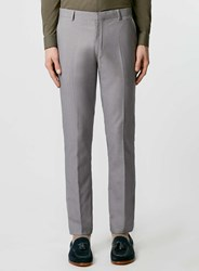 Topman Grey Textured Skinny Fit Suit Trousers