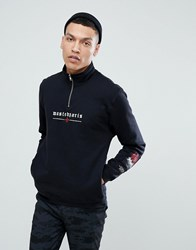 Wasted Paris 1 4 Zip Sweat With Chest Logo In Black Black