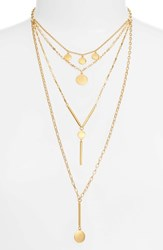 Rebecca Minkoff Circle And Bar Droplet Layered Necklace Gold