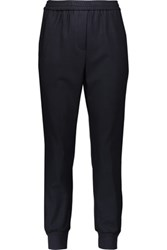 Adam By Adam Lippes Satin And Velvet Trimmed Stretch Jersey Tapered Pants Midnight Blue
