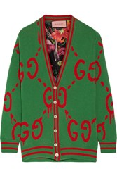 Gucci Reversible Wool Jacquard Knit And Printed Silk Twill Cardigan Green