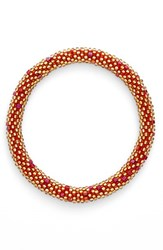 Women's Aid Through Trade Roll On Beaded Stretch Bracelet Gold Red Accent