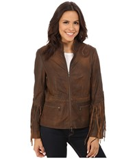 Scully Carron Sexy Fringe Sleeve Jacket Brown Women's Coat